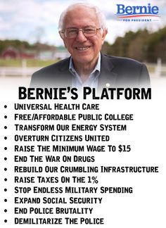 Bernie Sanders' Platform : Taking this country back from the Billionaires that bought it from the Republican Party !!!