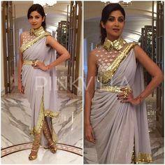 Yay or Nay : Shilpa Shetty in Abu Jani and Sandeep Khosla Indian Designer Outfits, Designer Dresses, Indian Dresses, Indian Outfits, Saree Gown, Dhoti Saree, Kurti, Western Dresses For Women, Modern Saree
