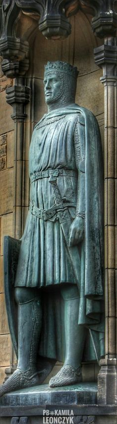 Statue of Robert the Bruce at Edinburgh Castle - Robert I (11 July 1274 – 7 June 1329), popularly known as Robert the Bruce, was King of Scots from 1306 until his death in 1329. Robert was one of the most famous warriors of his generation, and eventually led Scotland during the First War of Scottish Independence against England. He fought successfully during his reign to regain Scotland's place as an independent country and is today revered in Scotland as a national hero