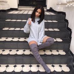 """""""Chilling ✌️ Jumper From: @hotmessclothing  High Boots From: @shoessante"""""""