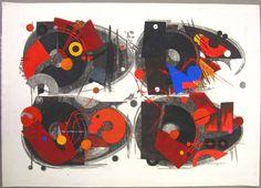 Artist: Hodaka Yoshida. Title: Rule. Woodblock Print, 1963. Genre: Modernist abstraction.