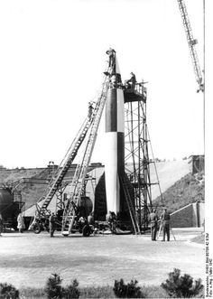 """A V-2 (Vergeltungswaffe-2, or """"Retribution Weapon, 2nd Model"""") on its launchpad (March 1942), via the Bundesarchiv"""