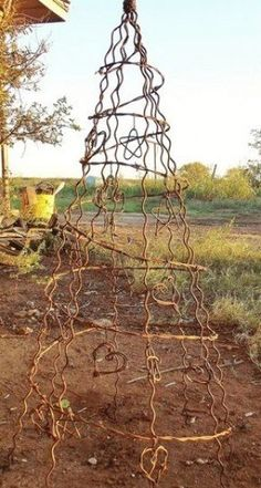 Metal Obelisk Trellis Barbed Wire Tree Fence Stays Holiday Rustic Home Yard Garden Art 3 3 5 Feet Dog Fence, Front Yard Fence, Farm Fence, Fence Gate, Gabion Fence, Fence Planters, Brick Fence, Concrete Fence, Pallet Fence