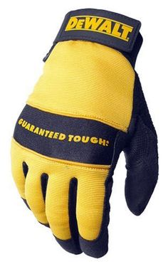 Dewalt All Purpose Synthetic Leather Palm Spandex Back Velcro Wrist Work Glove, Large: The DeWalt is an all Purpose synthetic leather glove with a reinforced padded palm to provide superior toughness and comfort. Dewalt Power Tools, Garage Atelier, Mobile Workshop, Yellow Mirrors, Best Gloves, Safety Gloves, Protective Gloves, Work Gloves, Cool Tools