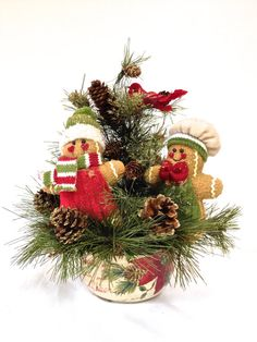 "Gingerbread Men Tree Holiday Table Arrangement Decor Christmas Centerpiece 12"" (h) x 8"" (w)"