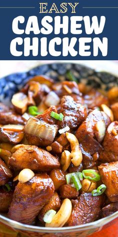 Quick and easy Cashew Chicken! Chicken breast pieces marinated in peanut oil chili powder, tamari, and honey, then fried with cashews, onio. Simply Recipes, New Recipes, Whole Food Recipes, Cooking Recipes, Favorite Recipes, Yummy Chicken Recipes, Easy Dinner Recipes, Easy Meals, Keto Chicken