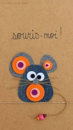 Discover thousands of images about Souris-moi ! Recyclage des pantalons by MyLittleCornerOfTheWorld Jean Crafts, Denim Crafts, Artisanats Denim, Diy For Kids, Crafts For Kids, Fabric Crafts, Paper Crafts, Animal Crafts, Punch Art