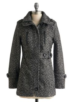 The Bloomsbury Coat - Mid-length, Black, White, Buttons, Pockets, Long Sleeve, 3, Print, Belted, Casual, Fall, Scholastic/Collegiate