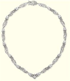 A DIAMOND NECKLACE, BY TIFFANY & CO.   Designed as a series of cannetille-work links with circular-cut diamond detail, early 20th century, 43.0 cm long, with French import mark for platinum  Signed Tiffany & Co.