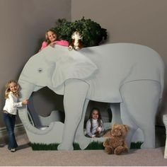 Custom Theme Beds for Kids - Elephant Bedding, Elephant Theme, Elephant Nursery, Jungle Room, Jungle Safari, Jungle Theme, Castle Bed, Bunk Bed Designs, Kids Bunk Beds