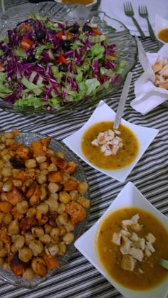 Fresh salad with grilled chickpea and chicken fillet and butternut soup