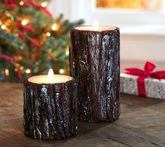 Luminara Flickering Flameless Wax Shimmering Bark Pillar Candle | Pottery Barn