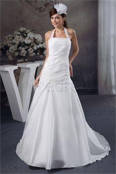 Robe de mariée simple Licou A-ligne en Satin http://fr.SzWedress.com/Robe-de-mariée-simple-Licou-A-ligne-en-Satin-p21017.html