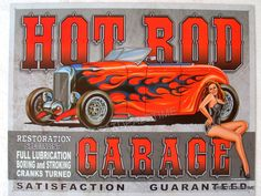 Hot Rod Garage Sign is a brand new vintage tin sign made to look vintage, old, antique, retro. Purchase your vintage tin sign from the Vintage Sign Shack and save. Dodge Super Bee, Ford F Series, Man Cave Signs, Garage Signs, Charter Boat, Cadillac Eldorado, Metal Shop, Texaco, Sport Fishing