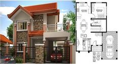 Two Storey, Modern House Design 169 sq. with House Plan House Plans Mansion, Duplex House Plans, Bungalow House Plans, Bungalow House Design, New House Plans, Modern House Plans, Zen House Design, Two Story House Design, 2 Storey House Design