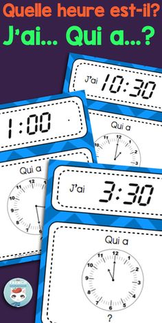 "Telling time in French: this fun set of three ""J'ai... Qui a...?"" games will give your French students tons of fun telling time in French practice! Quelle heure est-il? is a question they'll know how to answer after playing these games!"