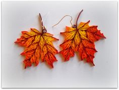 quilled maple leaf earring tutorial