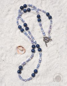 Lapis, Pearl, Moonstone & Silver Necklace
