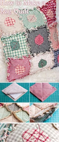 Patchwork & Quilting How to Make a Rag Quilt. How to sew free tutorial for beginners. Ideas for sewing projects. Step by step illustration. Crochet Pattern Free, Sewing Patterns Free, Free Sewing, Crochet Patterns, Pattern Sewing, Knitting Patterns, Crochet Ideas, Rag Quilt Patterns, Poncho Patterns