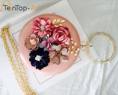 Special offer TenTop-A Women Circular PU Clutches Evening Bag 3D Artificial Flowers Pearls Round Purse Bag Bridal Wedding Wrist Ring Handbags just only $25.48 with free shipping worldwide  #womaneveningbags Plese click on picture to see our special price for you