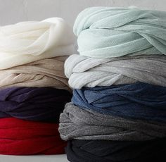 Inspiration: lace or fingering cashmere yarn on larger needles...  Cashmere Infinity Scarf