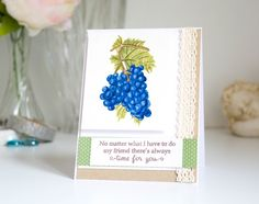 Inspired by Stamping, Joanna Munster, Sun-Ripened Grapes stamp set, thinking of you card, watercolor card