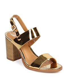 85683a4f0650 Liliana DI21 Women Metallic Open Toe Slingback Block Heel City Sandal -  Gold (Size  5.5)