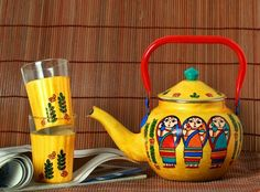 A Krazy Mug Bengali Babushka Steel Kettle with set of two glasses #homedecor #homedecorideas #decor #glasses #teakettel #Kettel #Bangali #bengali