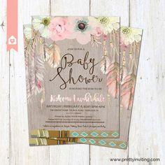 Boho Baby Shower Invitation Rustic Floral by PrettyInvitingPrints