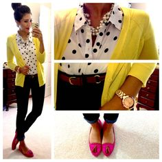 neon yellow cardi, polkadots, brown belt you can try this look if you're ok with polka dots - if not, just go with a normal white shirt