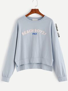 Blue Drop Shoulder High Low Letter Patch Embroidered Sweatshirt