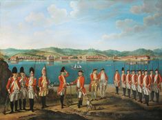 Lieutenant-Colonel Robert Watson with (from left) grenadiers of the and Regiments of Foot, their officers, and soldiers of Regiment of Foot, 1771 (c) attributed to Giuseppe Chiesa British Army Uniform, British Soldier, British Uniforms, Fine Art Prints, Framed Prints, Canvas Prints, Seven Years' War, Oil Painting On Canvas, Oil Paintings