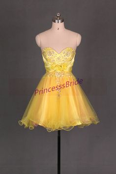 bba54510dae 2014 short homecoming gowns in yellow tullecute by PrincesssBride 2016  Homecoming Dresses