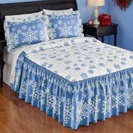 Blue and White Winter Snowflake Bedspread Bedding Accessories, Bedding Sets, Ruffle Bedding, Designer Bed Sheets, Collections Etc, Bedroom Decor, White Bedding, Home Decor, Bright White Background