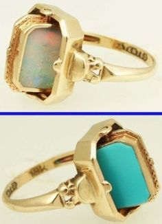 Art Deco Opal and Persian Turquoise Reversible Flip Cocktail Ring