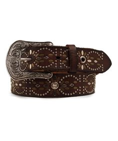 Take a look at this Ariat Brown Eyelet Brads Leather Belt today!