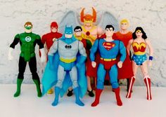 """The DC Comics Justice League action figures, from Kenner's """"Super Powers"""" line of toys Retro Toys, Vintage Toys, Childhood Toys, Childhood Memories, Gi Joe, Justice League Action Figures, Toys R Us Kids, Geek Toys, Kenner Toys"""