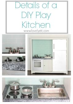 Details of a DIY play kitchen - how to create a tile backsplash, granite countertop, and stainless appliances using paint.