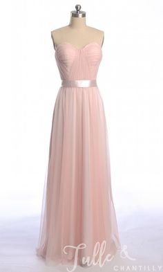 Long Sweetheart Pink Tulle Bridesmaid Dress TBQP302 click for 40+ colors