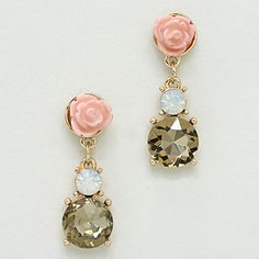 Crystal Rose Earrings in Champagne