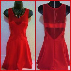 ❤️SALE...Red Sheer Dress❤️ This GORGEOUS Dress is fitted and SEXY, and the back is Sheer! New with tags and never worn. Dresses