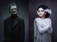 Kids costume make up. Frankenstein and the Bride of Frankenstein.