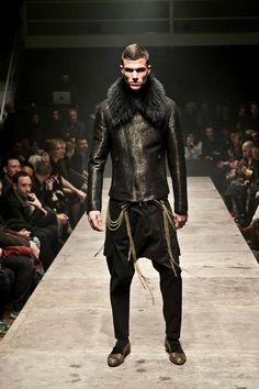 Tom Rebl AW13 men's fur collared leather jacket- the drop crotched pants are super over... Jacket is straight murder!