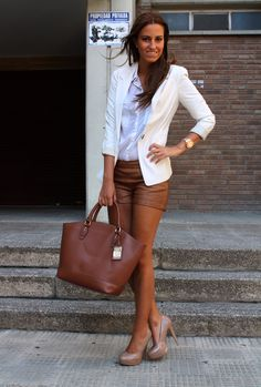 Brown leather shorts!