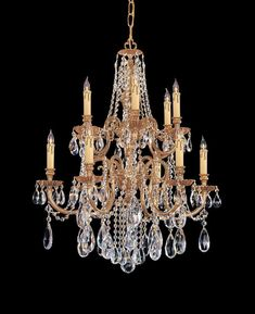 Crystorama Ornate Cast Brass Chandelier Accented with Swarovski Spectra Crystal 6 Lights - Olde Brass - 2712-OB-CL-SAQ
