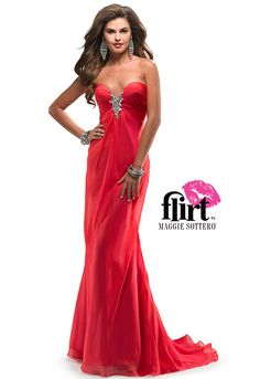 Babydoll chiffon dress by Flirt with sweetheart neckline and beaded motif on center front ruched bust. See the dress!