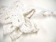 Crocheted Snowflakes, Handmade Snowflake Motifs, Wedding Decor, Three Snowflakes, White $12.00