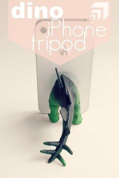 Make a Dinosaur Phone TripodProject estimate:  Plastic dinosaur, on hand Caulk, about $5 and up Suction cup, on hand or $1