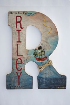 """Custom Wooden Wall Letters Hanging Letters Nursery by mybabybee, $24.00 For Rylan 's new """"pirate room!"""""""