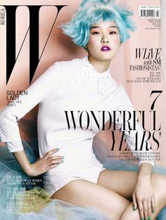 """W Korea does pastel hair. Koreans do every """"American"""" trend years before Americans do V Magazine, Fashion Magazine Cover, Magazine Covers, Magazine Spreads, Marie Claire, Cosmopolitan, Vanity Fair, Nylons, Pastel Blue Hair"""